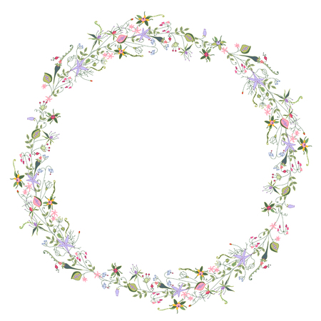 fields of flowers: Wreath with stylized summer flowers and herbs.