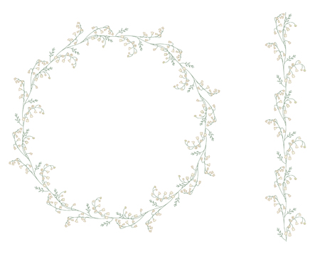 isolated flower: Detailed contour wreath withlilies of the valley isolated on white. Round frame for your design, greeting cards, wedding announcements, posters.Seamless pattern brush. Illustration
