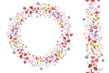 cenefas flores: Corona de contorno detallado con las hierbas y las flores estilizadas salvajes brillantes aislados en blanco. Marco redondo para su diseño, tarjetas de felicitación, anuncios de boda, carteles. Cepillo sin patrón.