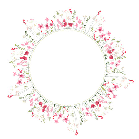 fields of flowers: Detailed contour wreath with herbs and wild stylized flowers isolated on white. Round frame for your design, greeting cards, wedding announcements, posters.