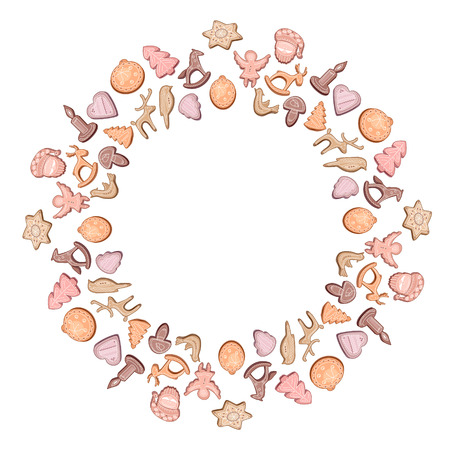 bułka maślana: Round frame with different cookies. Wreath for your design, Christmas announcements, greeting cards, posters.
