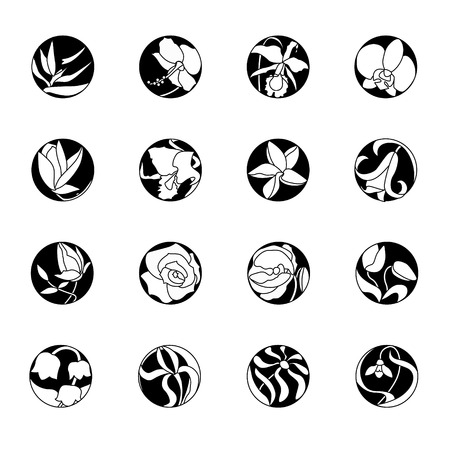 Set with round floral icons. Black and white, monochrome. Tropic, cultivate, wild flowers.