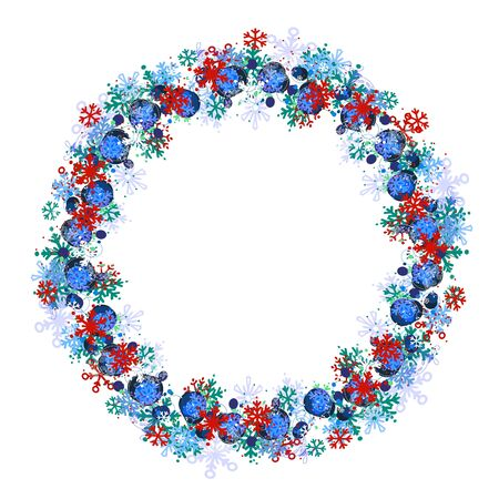 christmas blue: Round frame with different blue snowflakes. Wreath for your design, Christmas announcements, greeting cards, posters.