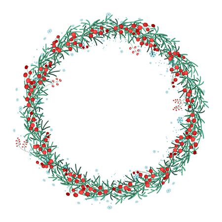 spruce: Round Christmas wreath with spruce branches and red berries isolated on white. For festive design, announcements, postcards, posters.