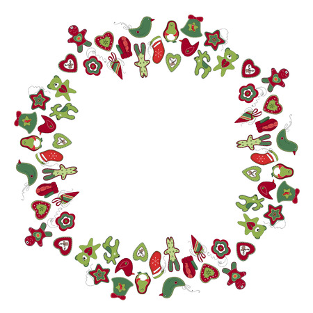 retro backgrounds: Round frame with different vintage Christmas decorations. Wreath for your design, Christmas announcements, greeting cards, posters.