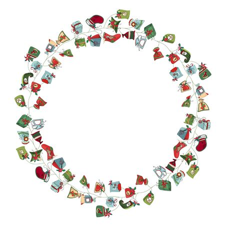 christmas gift: Round frame with different vintage gift boxes. Wreath for your design, Christmas announcements, greeting cards, posters.