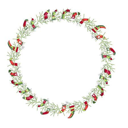 white socks: Round Christmas wreath with Santa socks isolated on white. For festive design, announcements, postcards, posters.