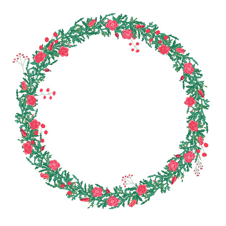 Round wreath with red roses isolated on white. For season design, announcements, postcards, posters.
