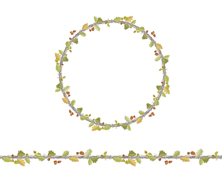 twigs: Round season wreath with oak leaves, twigs and acorns isolated on white. Endless horizontal pattern brush. For season design, announcements, postcards, posters.