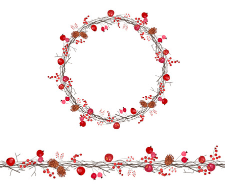 twigs: Round season wreath with berries, apples and twigs isolated on white. Illustration