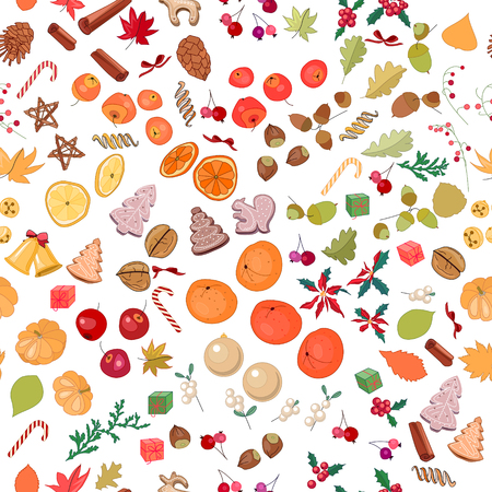 mandarins: Seamless pattern with fruits, cookies, berries, spice, nuts and candies on white.