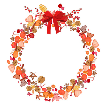 Round festive wreath with fruits, cookies, berries and leaves isolated on white. For season design, announcements, postcards, posters.