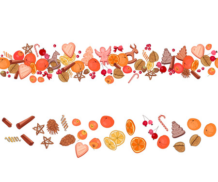 mandarins: Christmas festive garland with fruits, cookies, berries, spice and candies isolated on white. Seamless pattern brush. For season design, announcements, postcards, posters.