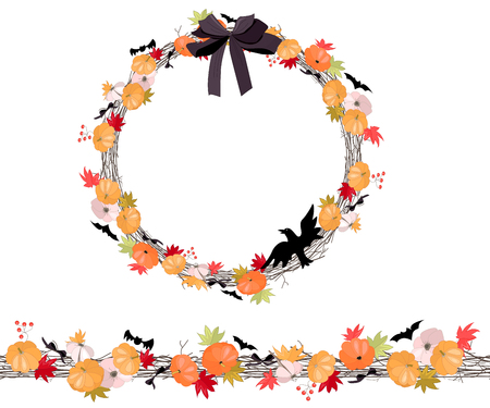 cute border: Round Halloween wreath with pumkins isolated on white. Endless horizontal pattern brush. For Halloween design, announcements, postcards, posters.