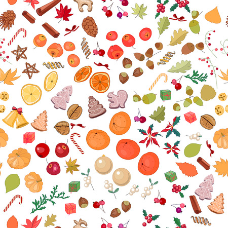mandarins: Seamless pattern with fruits and candies on white.