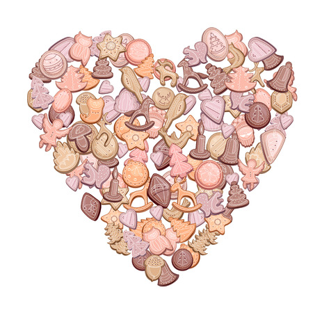 shortbread: Heart made of different Christmas cookies isolated on white background