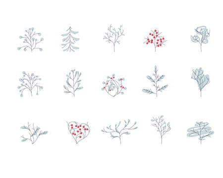 ashberry: Set of different contour winter trees isolated on white.  For season design, announcements, postcards, posters.