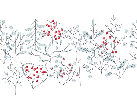 ashberry: Endless pattern brush with contour winter trees isolated on white. For season design, announcements, postcards, posters.