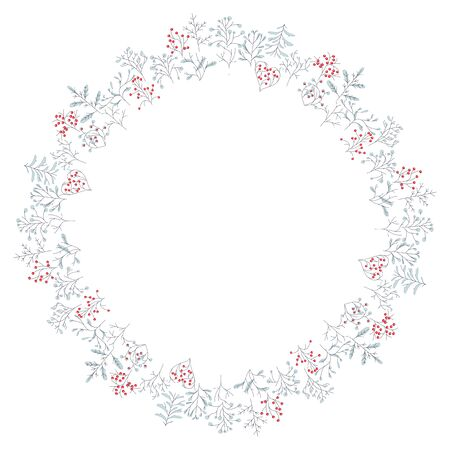 ashberry: Round frame with different winter trees. Wreath for your design, Christmas announcements, greeting cards, posters.