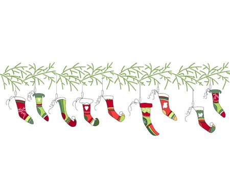 stocking: Seamless pattern brush with Christmas Santa socks on white. Simple colors. Endless texture for Christmas design, announcements, postcards, posters.