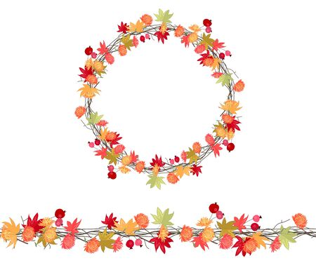 twigs: Round season wreath with autumn leaves, asters and twigs  isolated on white.