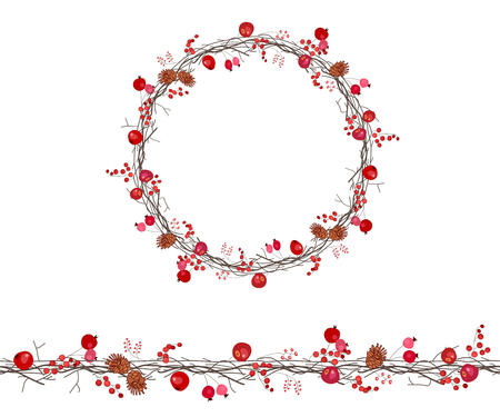 twigs: Round season wreath with berries,apples and twigs  isolated on white.