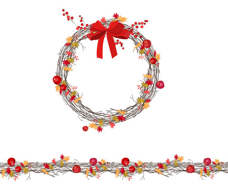 Round autumn wreath with berries and apples isolated on white. Endless horizontal pattern brush. For season design, announcements, postcards, posters.