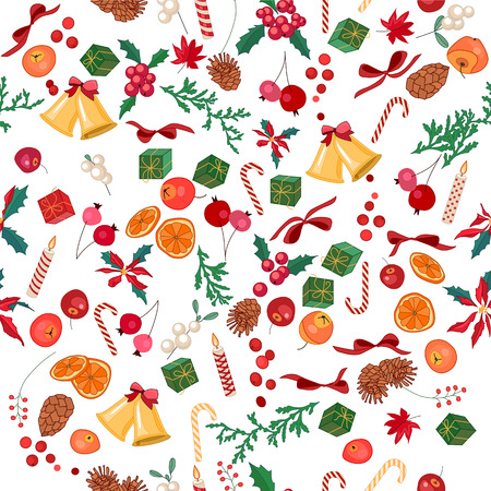 mandarins: Seamless Christmas pattern with fruits, bells, berries and candies on white. Endless festive texture for design, announcements, postcards, posters.