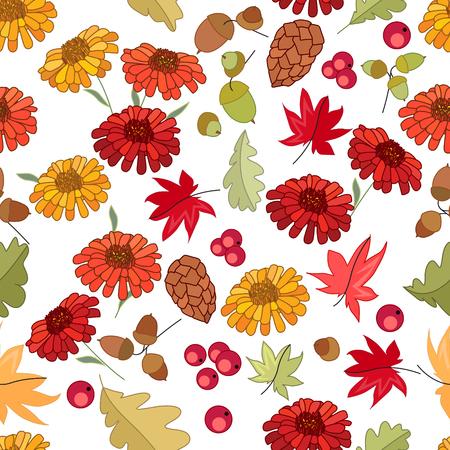 motif d'automne Seamless avec des feuilles et gerberas d'érable rouge sur fond blanc. texture festive sans fin pour la conception, des annonces, des cartes postales, des affiches.