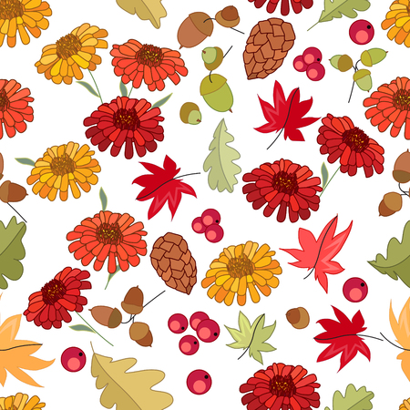 fall: Seamless autumn pattern with red maple leaves and gerberas on white. Endless festive texture for design, announcements, postcards, posters.