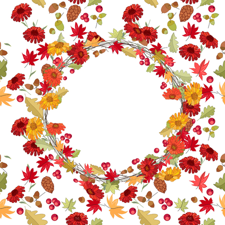 autumn season: Round autumn wreath with red maple leaves and gerberas on white. Endless season texture for design, announcements, postcards, posters.