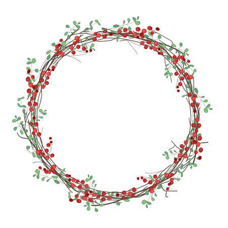 marcos decorativos: Navidad corona redonda con ramas de acebo aisladas en blanco. Para festivo diseño, anuncios, postales, invitaciones, carteles. Vectores