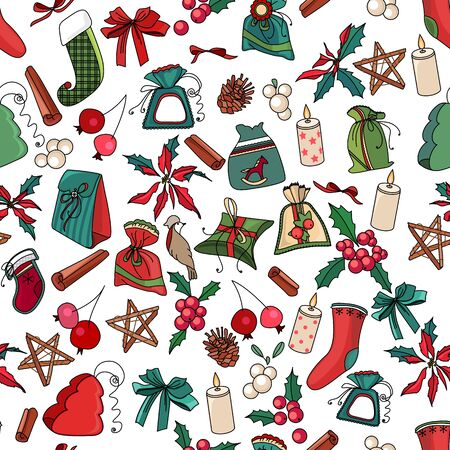 design objects: Seamless Christmas pattern with different decorative objects. Endless festive texture for design, announcements, postcards, posters.