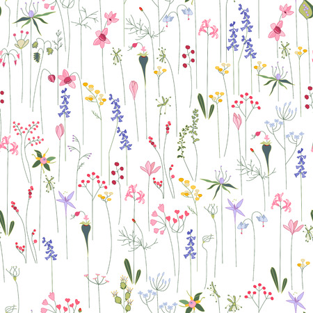 Seamless bright floral pattern with  different flowers. Endless texture for design, announcements, postcards, posters. 일러스트