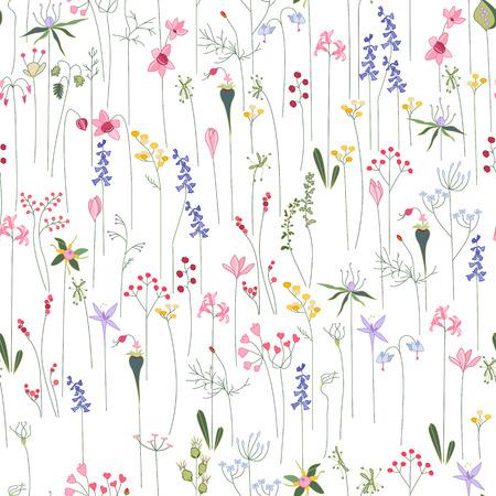 Naadloze heldere bloemmotief met verschillende bloemen. Endless textuur voor ontwerp, advertenties, ansichtkaarten, posters. Stock Illustratie