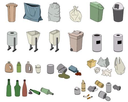 mundo contaminado: Diferentes tipos de residuos y rabbish Varios contenedores aislados en blanco Vectores
