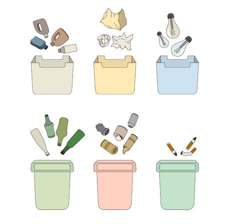 mundo contaminado: Sorting waste. Isolated objects Vectores