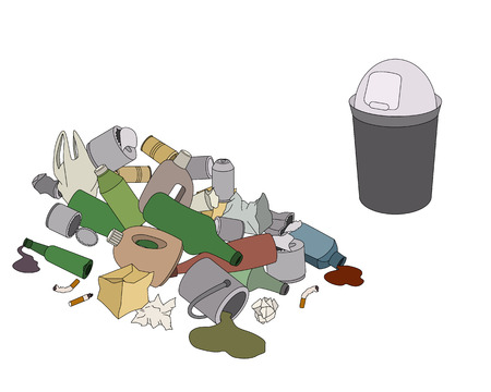 mundo contaminado: Diferentes tipos de basura y basura aislados en blanco
