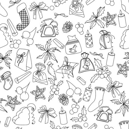 christmas objects: Seamless Christmas pattern with different black and white objects. Endless festive texture for design, announcements, postcards, posters. Illustration