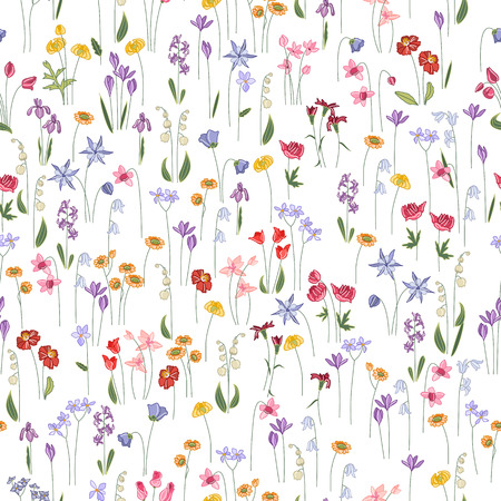 Seamless bright floral pattern with  different flowers. Endless texture for design, announcements, postcards, posters. Vectores