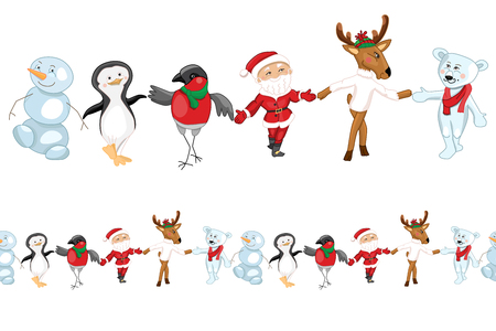 Seamless pattern brush with traditional Christmas characters. Endless horizontal texture