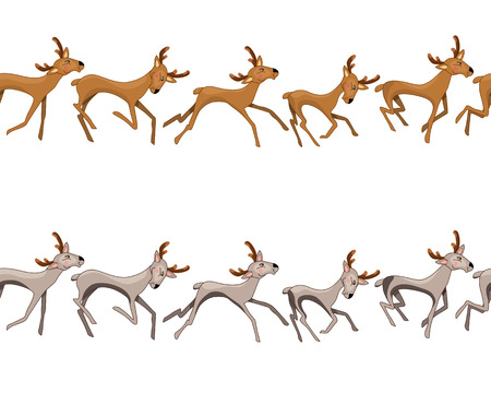 variants: Seamless border with galloping deers. Two variants of color