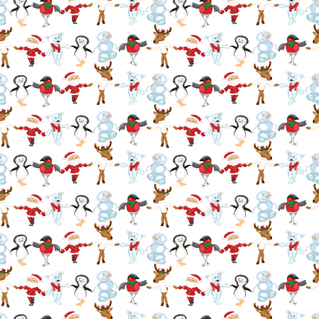 Seamless pattern with traditional Christmas characters. White background. Illustration