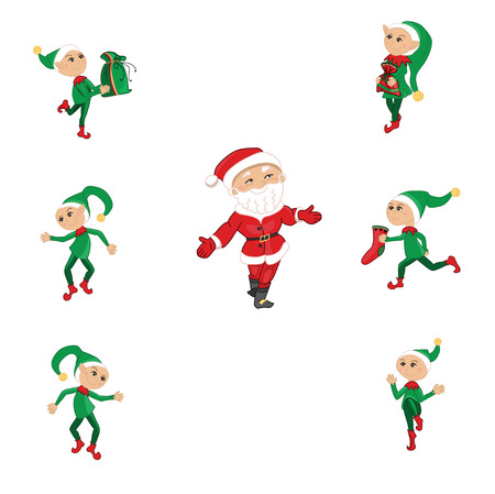 duendes de navidad: Santa y Navidad elfos en blanco Vectores