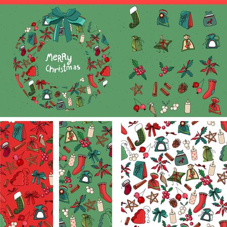 box template: Set with traditional Christmas templates