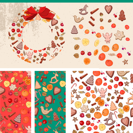 christmas food: Set with Christmas food  templates. For festive design, announcements, postcards, posters. Illustration