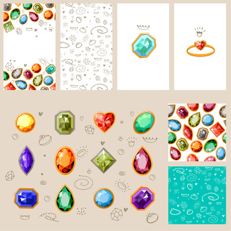 gems: Templates with gem stones and jewelry. For your design