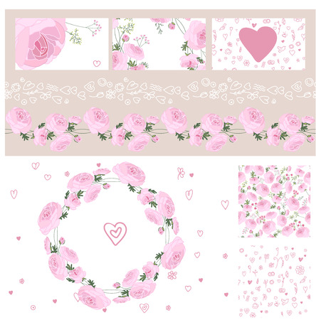 engagement: Wedding and Valentines floral templates with pink roses. For romantic design Illustration
