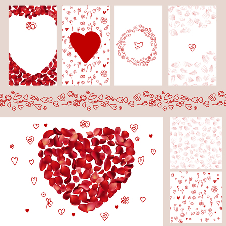 Wedding and Valentines floral templates with red rose petals. For romantic design