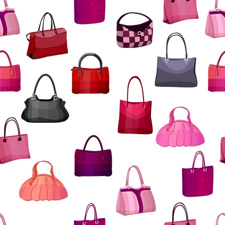 femine: Seamless pattern with womans bags.  Endless texture for your design, announcements, postcards, posters.